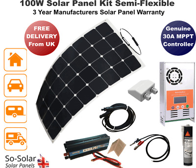 Solar Panel Kit 100w, MPPT Controller, 2000W Inverter, Cables, Gland & Adhesive
