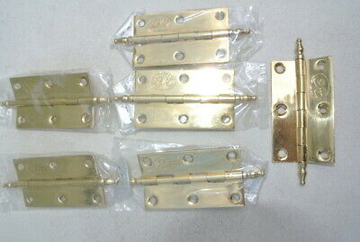 6 small hinges FINIALstyle polished solid Brass DOOR light restoration 6 cm