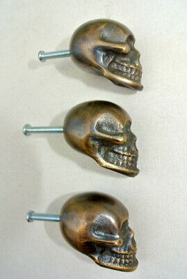"""3 small Skull Drawer Gothic Finger Pull Solid aged Brass 1.3/4"""" knobs drawers B"""