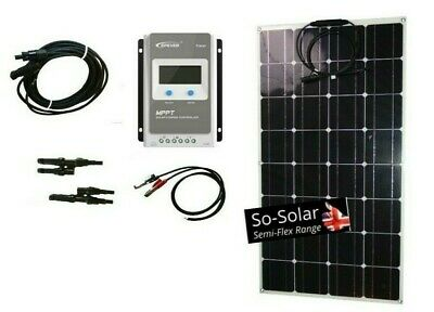 Solar Panel Kit 100w - Flexible inc Full MPPT Controller, Cables & Connections