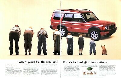 """1999 Land Rover Discovery Series II photo """"Ergonomic Seats"""" 2-page print ad"""