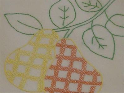 Cute Vintage Embroidered Tablecloth- Checkered Pears with Green Leaves- Adorable