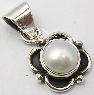 "925 SOLID Silver Natural FRESH WATER PEARL ONE OF A KIND Pendant 0.9"" OXIDIZED"