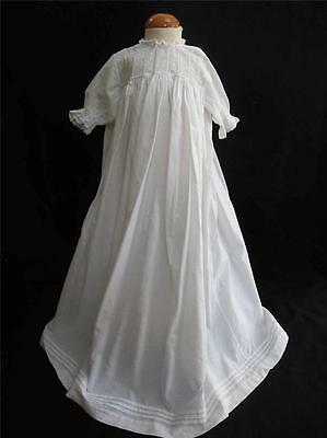 Antique Baby Dress Gown Victorian Embroidered Whitework Cotton Lace c1890