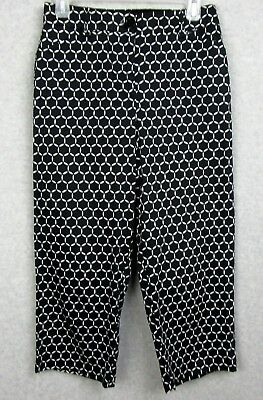 Counterparts Womens Size 4 Capri Pants Career Casual Black White Circles Stretch