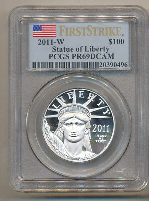 2011-W $100 Platinum Eagle PCGS PR69 FIRST STRIKE DEEP Cameo  one ounce 1oz
