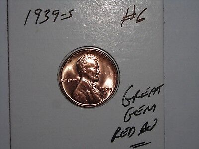 wheat penny 1939S GEM RED BU 1939-S LINCOLN CENT LOT #6 SHARP UNC RED LUSTER