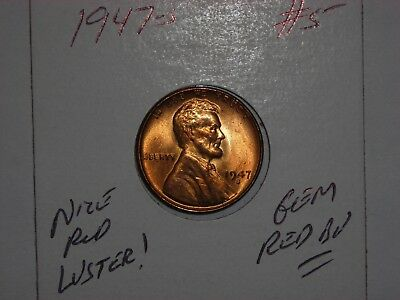 wheat penny 1947S GEM RED BU 1947-S LOT #5 LINCOLN CENT UNC SHARP RED LUSTER