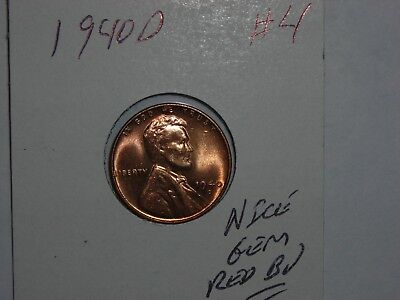wheat penny 1940D LINCOLN CENT GEM RED BU 1940-D LOT #4 SHARP UNC RED LUSTER