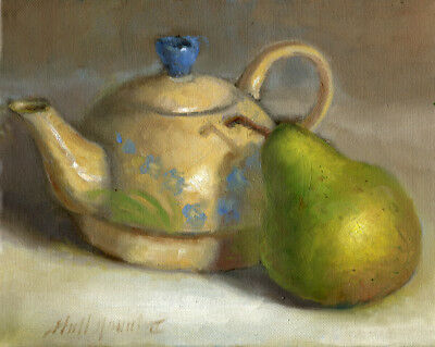 Teapot with Bartlett Pear 8x10 in. Original Oil on canvas Hall Groat II