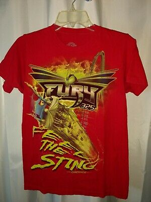 Fury 325 Steel Roller Coaster Carowinds SS dbl sided T-Shirt Red (S) Adult NWOT