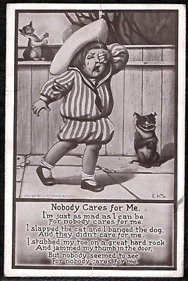 Vintage 1900'S Funny Laughing Cartoon Dog & Cat Little Girl Old Litho Postcard