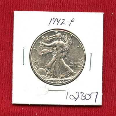 1942 Walking Liberty Silver Half Dollar #102307 $ High Grade Us Mint Rare Estate