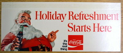 1970s Coca-Cola Coke adds life Holiday Fun SANTA CLAUS 2ft Cardboard SIGN NOS 1