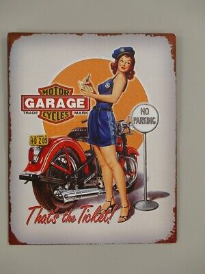 G3891: Nostalgia Letrero de Metal, N º Parking, Moto Cartel de Pared 25x20