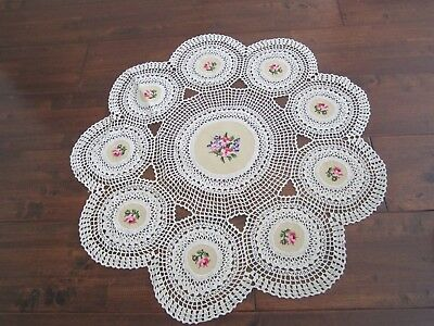 Hand Crocheted & Embroidered Tablecloth Centre piece 75cm