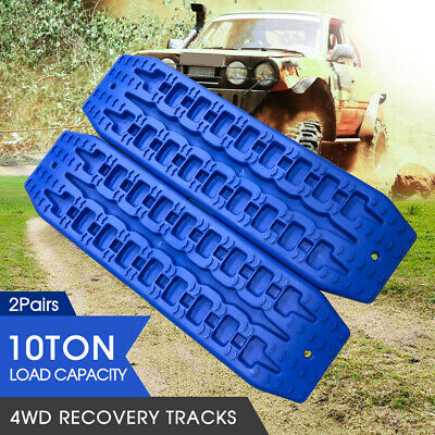 2Pairs New Recovery Tracks Sand Track 10T Vehicle Sand/Snow/Mud Trax Black 4WD