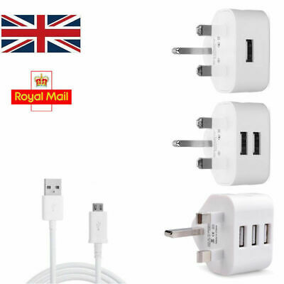 UK Mains Wall 321 Pin Plug Adaptor Charger with 3 USB Ports for Phones Tablets