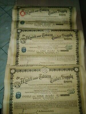"3"" The Match And Tobacco Timber Supply Company "" Lisboa Scripophilie Titre 1926"