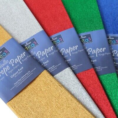 Metallic Crepe Paper 2.5 Metres x 50cm Ideal for Art & Crafts Gift Wrapping 50gs