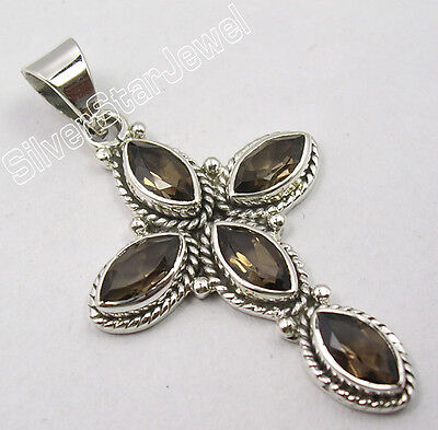925 Sterling Silver BROWN SMOKY QUARTZ Gemstone OXIDIZED CROSS Pendant 1.7""
