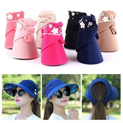 Womens Lady Visor Hat Summer Sun Beach Ladies Foldable Roll Up Wide Brim Cap New