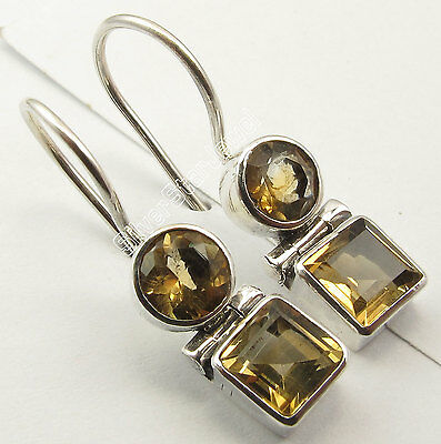 925 Silver Genuine CITRINE Earrings 1 inches SEMI PRECIOUS GEMSTONE
