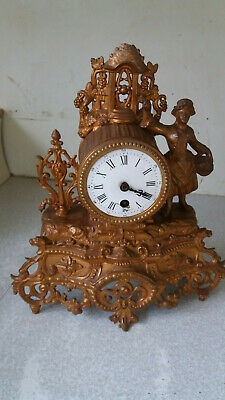 Antique Ormolu / Gilt French Mantel Clock - Young Lady - Jappy Freres - Camus