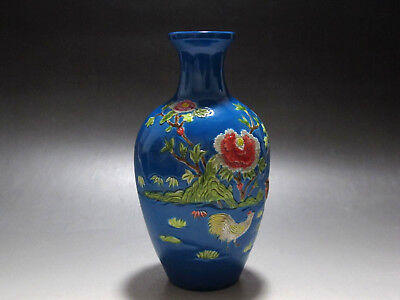 China Famille Rose blue glaze porcelain Vase carving Painted chicken Flower Vase