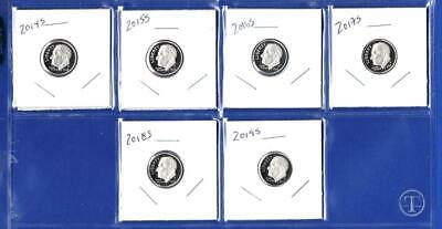 2014 S - 2019 S Clad Proof Roosevelt Dime Set-Gem Proof-IN STOCK-6 Dimes