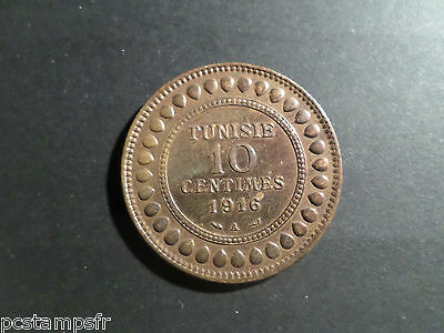 AFRICA TUNISIA, COIN MINT 10 ct 1916, VERY GOOD, FRENCH VERSION TUNISIA CORNER