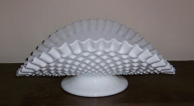 Fenton Hobnail Banana Fruit Bowl Centerpiece - Low Foot - Ruffled Edge - No Mark