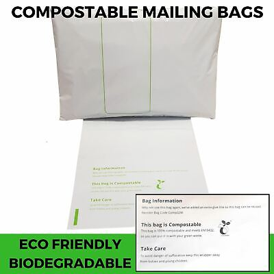 Compostable Mailing Bags - 100% Biodegradable Eco Plant Starch Packing Bio Bags