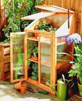 Brand New Mini Wooden Green House Plant Grow House Cold Frame Tier Cabinet