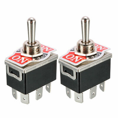 2 Pcs Black AC 250V/10A 125V/15A 6 Terminals ON/OFF/ON 3 Ways DPDT Toggle Switch