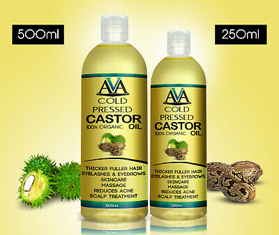 100% Pure Cold Pressed Castor Oil for Hair Skin Body Eyebrows & Eyelashes