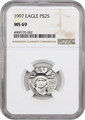 1997 Platinum Eagle $25 NGC MS69 - Statue Liberty 1/4 oz
