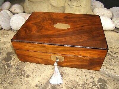 Terrific 19C Figured Walnut Antique Document/jewellery Box - Fab Interior