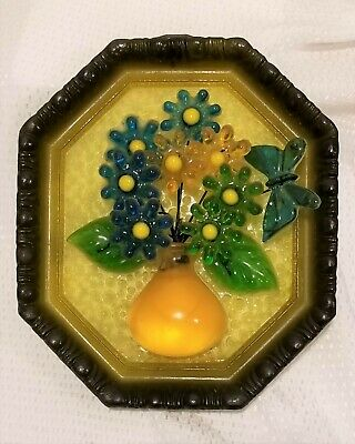 Vintage Lucite Flower bouquet Vase butterfly Wall hanging Framed acrylic resin