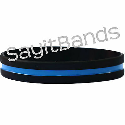 One Thin Blue Line Wristband - Awareness Bracelet - Adult or Child Size