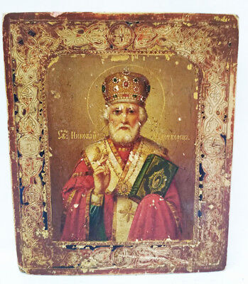 Antique 19th C Russian Wooden Icon on Gold of St.Nicholas with Enamel Border