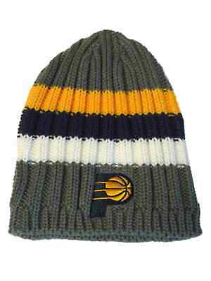 c44f3f97f04 Indiana Pacers Adidas Gray Navy Yellow Striped Acrylic Knit Skull Beanie  Hat Cap