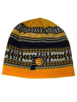 3094c40a2ca Indiana Pacers Adidas Yellow Navy Pattern Acrylic Knit Skull Beanie Hat Cap