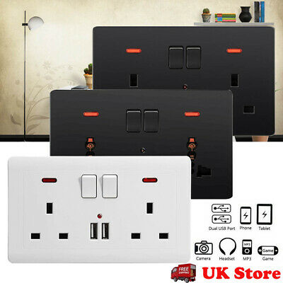 Double Wall Plug Socket 2 Gang 13A with 2 USB Charger Port Outlets Plate