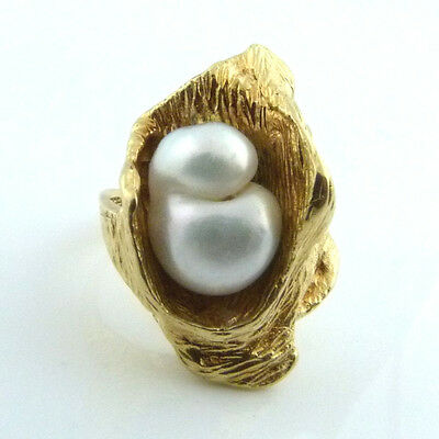 um 1970: eleganter Designer Ring 585er Gold Barockperle
