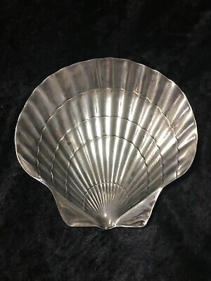 """Tiffany & Co Makers Sterling Silver Scallop Shell Dish 6"""", vintage"""