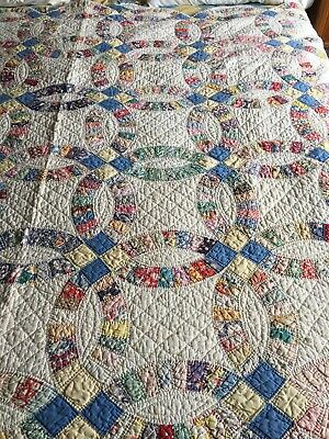 Gorgeous Feedsack Prints! Romantic Vintage 30s Wedding Ring QUILT 83x66