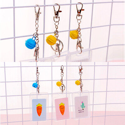 5 Pieces Cute Credit Card Case with Keyring Sleeve Set, Transparent Plastic