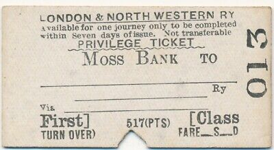 London & North Western Railway ticket 013 - MOSS BANK to ...............