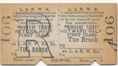 London & North Western Railway ticket 106 - TUE BROOK to ...................